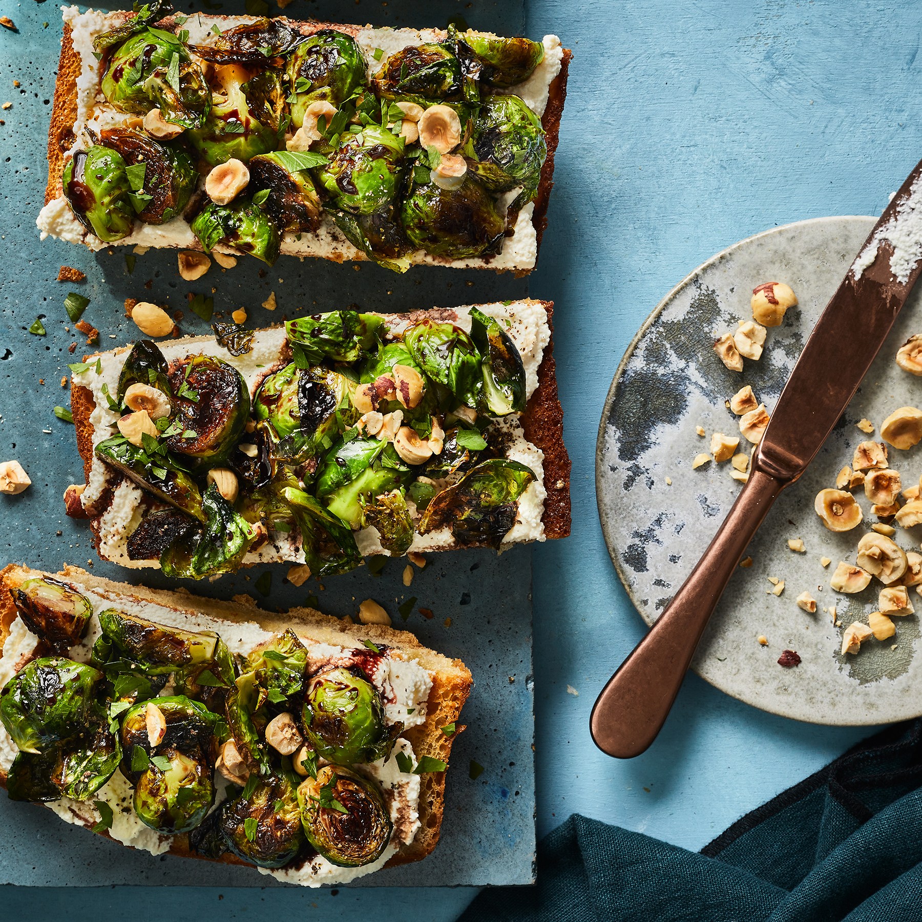 glazed Brussels sprouts with fried bread