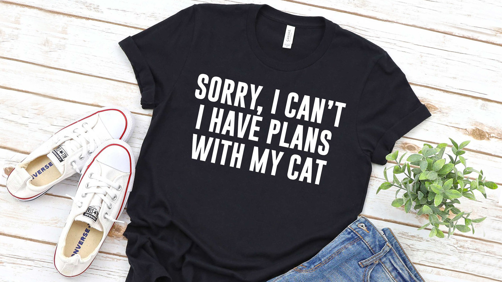 Funny Valentine's Day Gifts lead image: Sorry, I can't I have plans with my cat T-shirt from etsy
