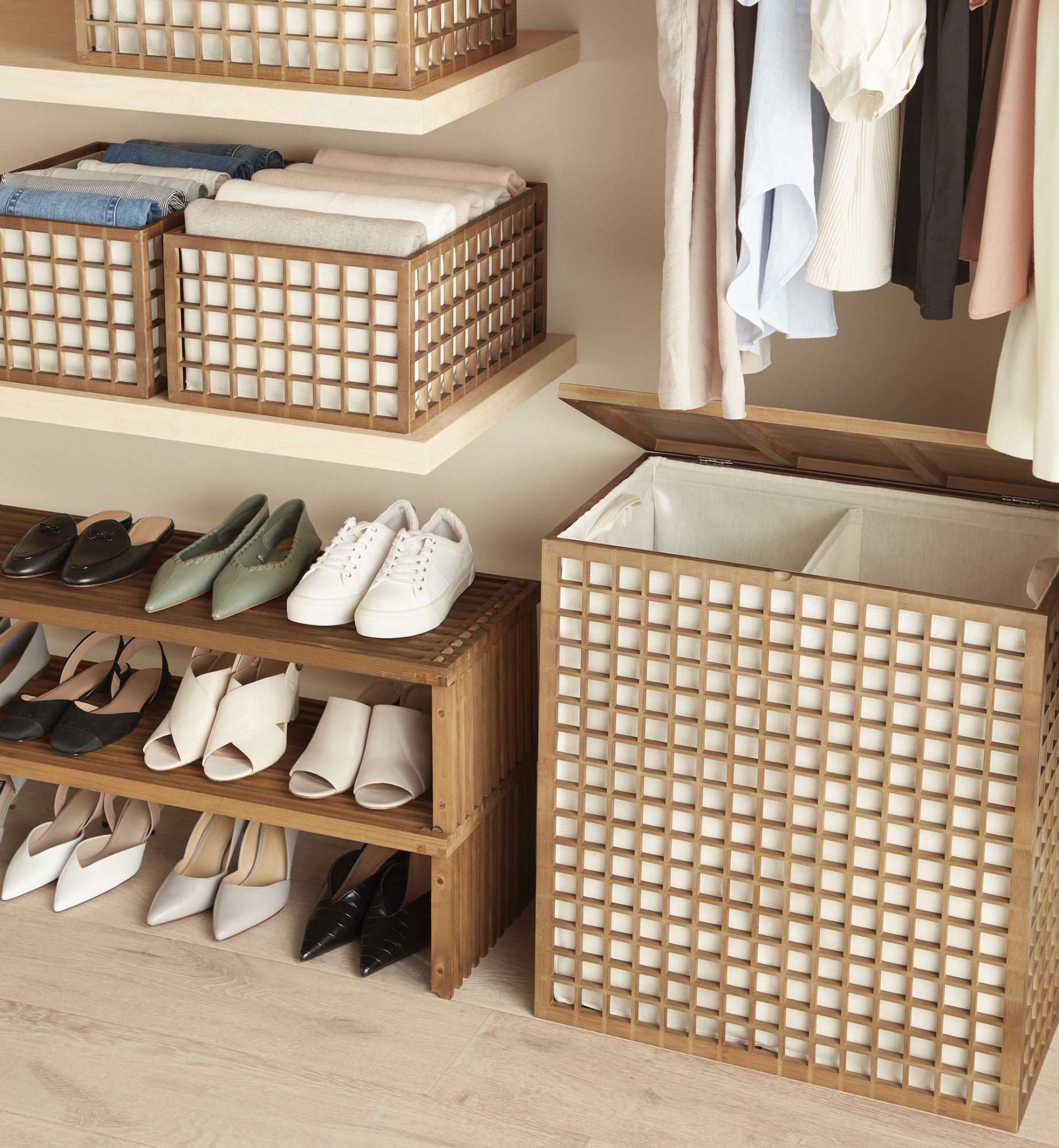Marie Kondo Container Store Baskets in Closet
