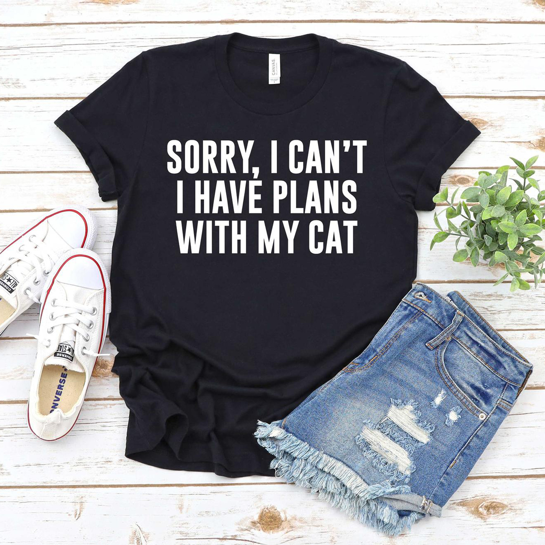 Funny Valentine's Day Gifts: Sorry, I can't I have plans with my cat T-shirt from etsy