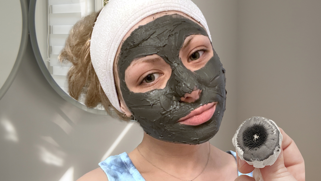 woman testing out ALIVER Magnetic Facial Mask