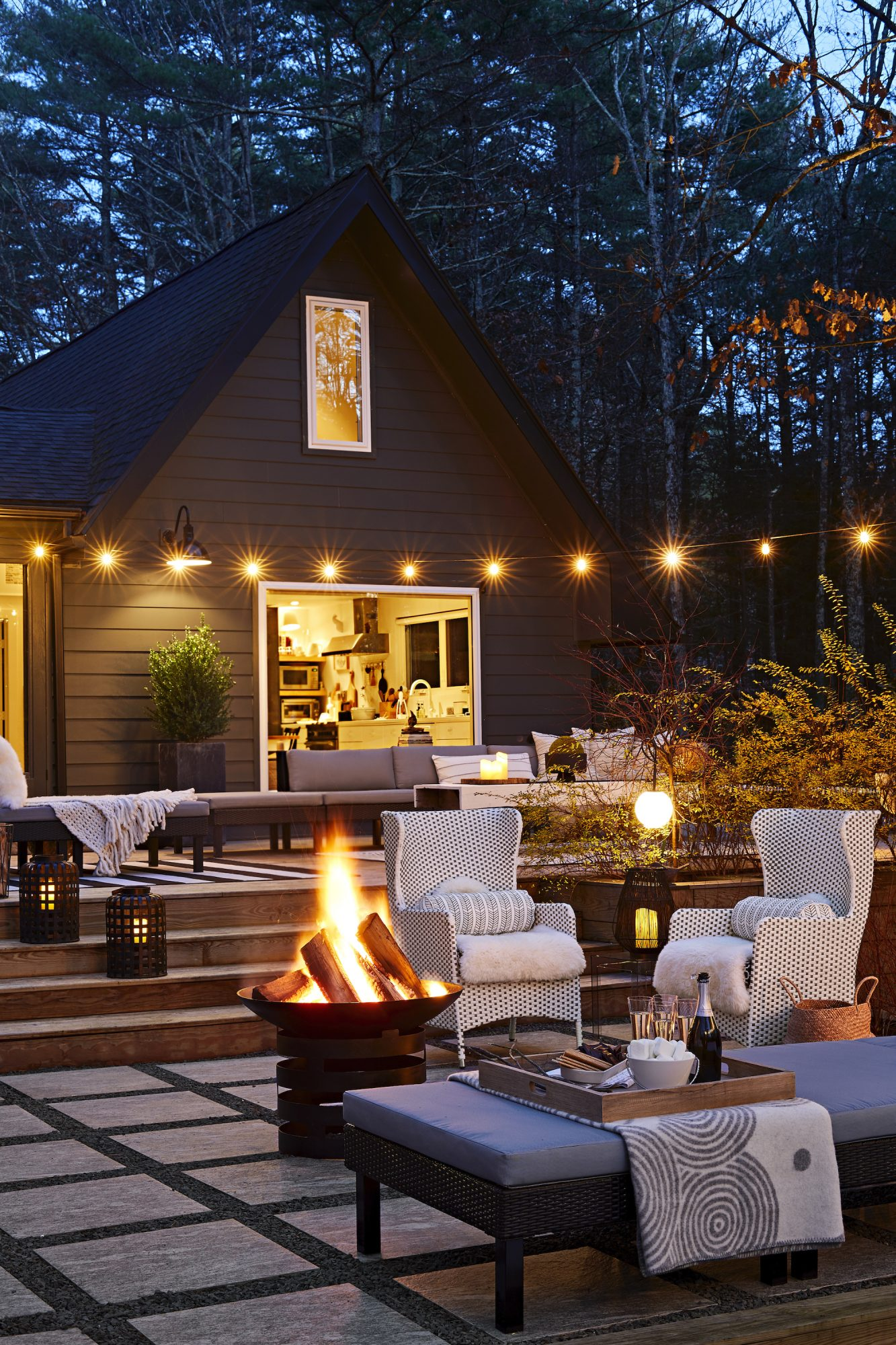 Space of the Month Feb 2021, Deck Decor with Lights and Firepit
