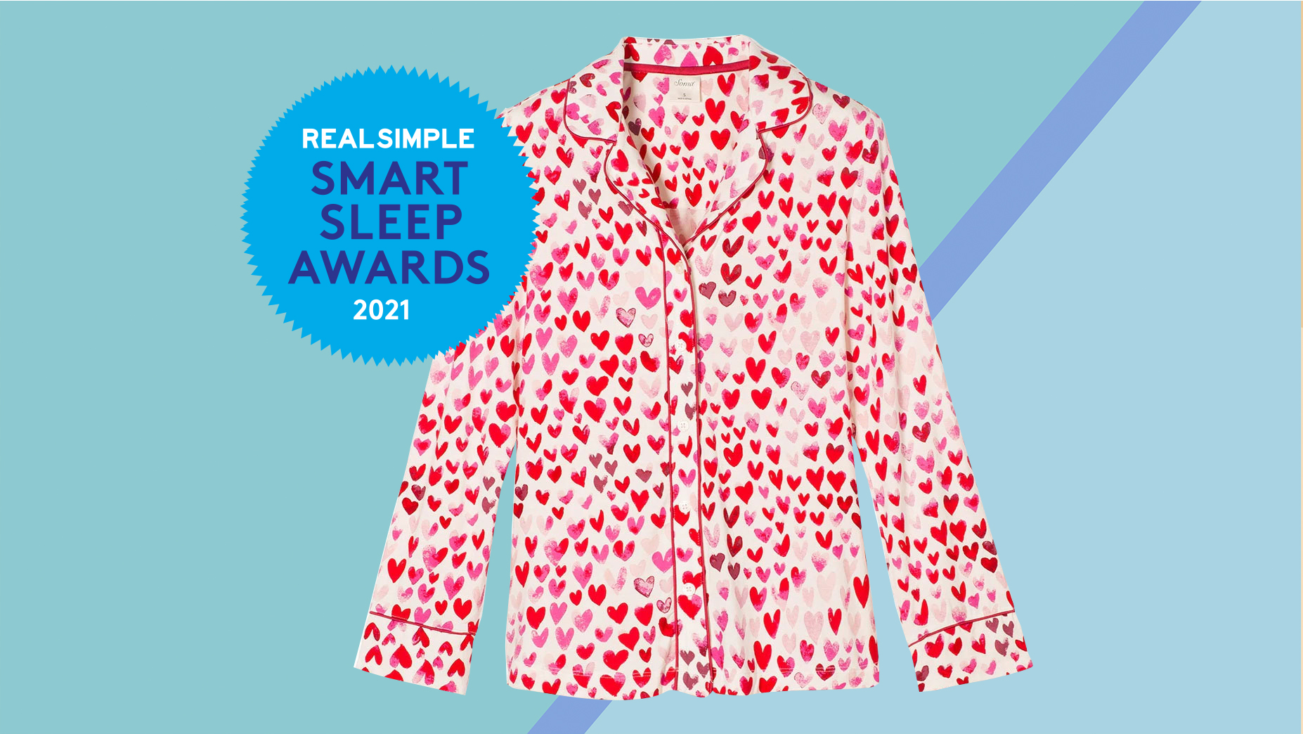 real simple sleep awards: heart print pajamas
