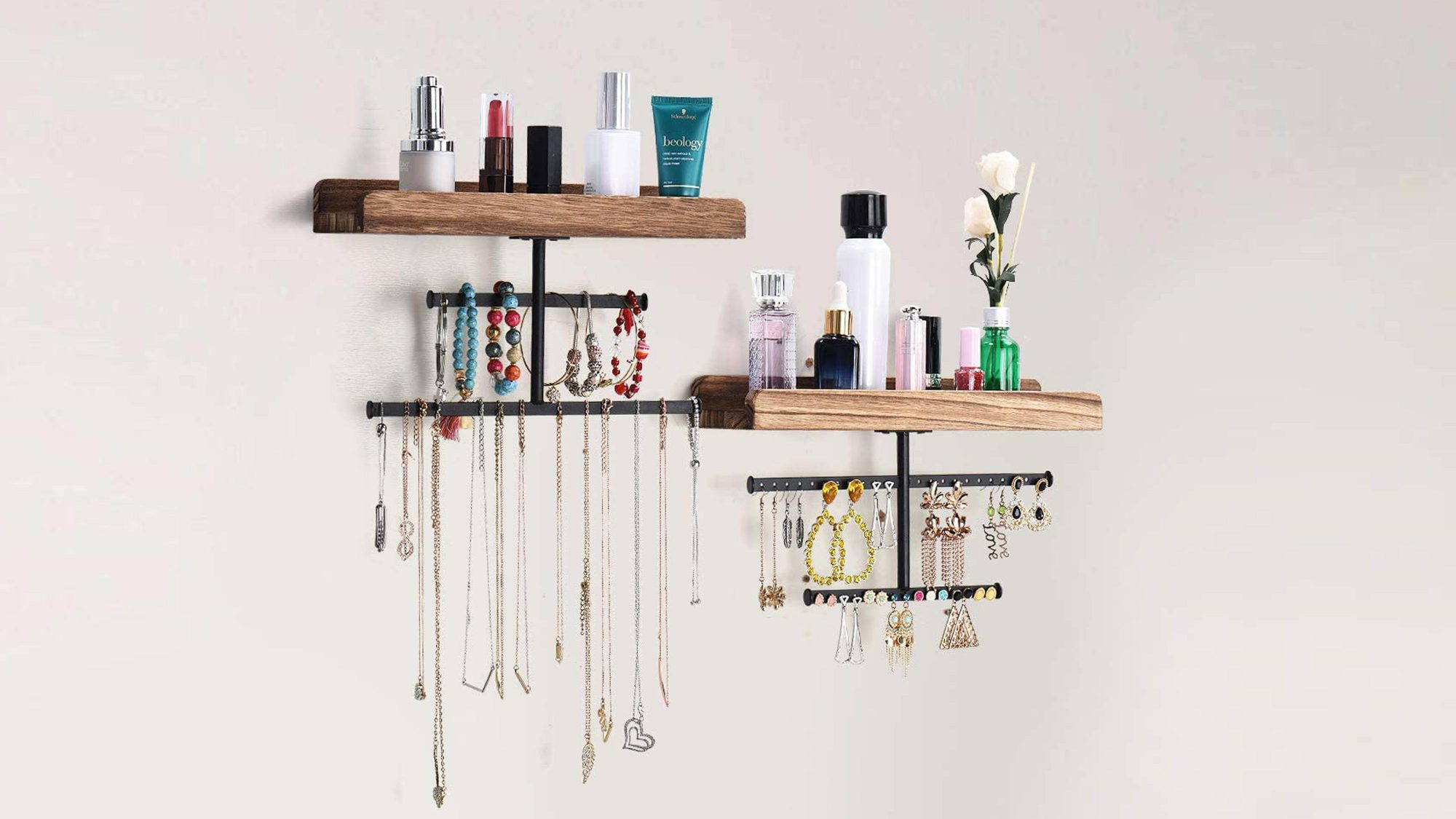 Keebofly Hanging Wall Mounted Jewelry Organizer with Rustic Wood Jewelry Holder Display