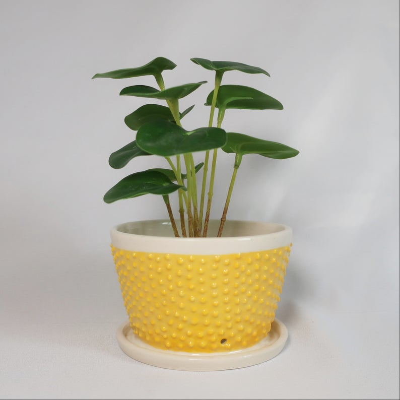 Yellow Textured Planter from Etsy