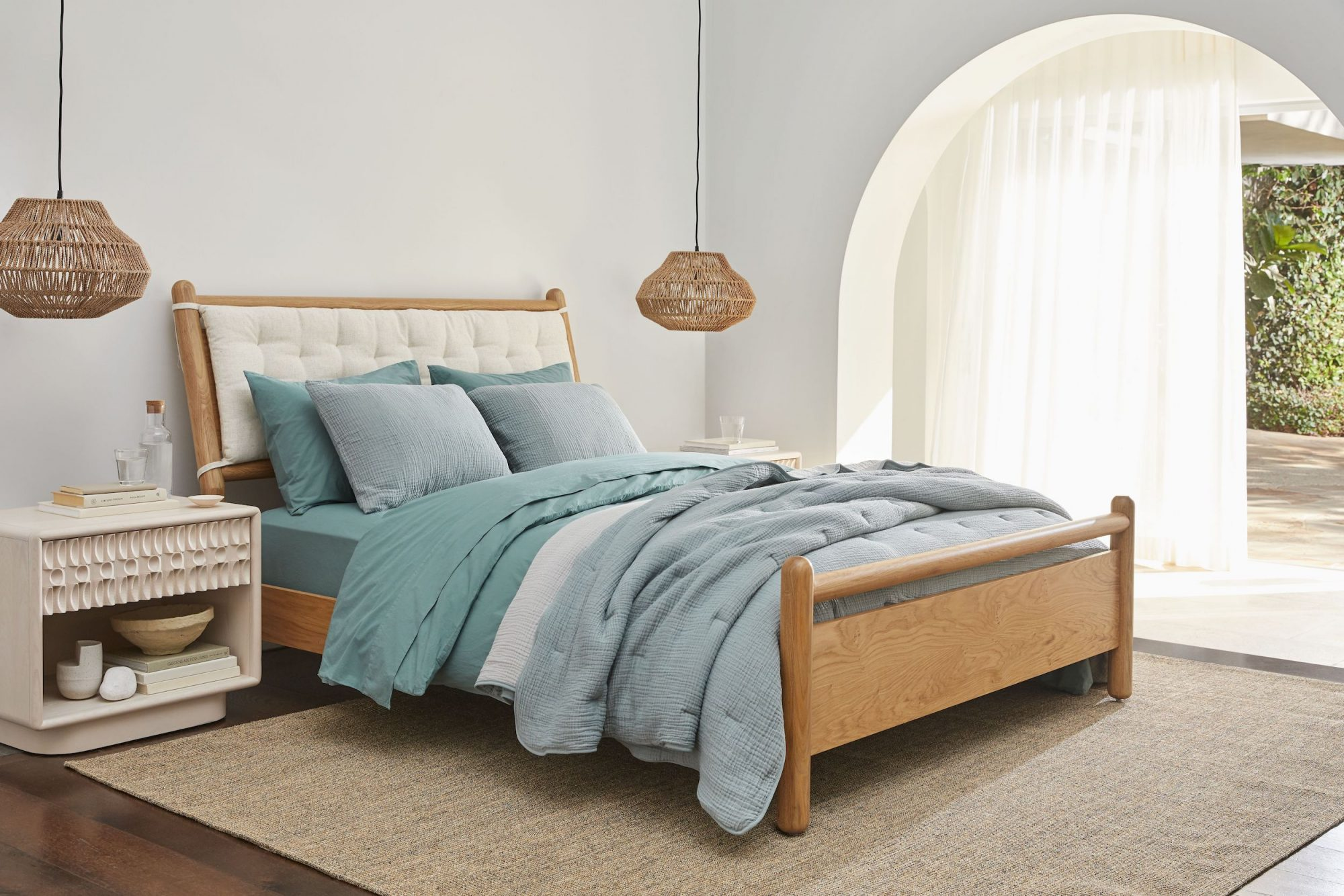 Parachute Crate and Barrel Bedding Collab, soothing blue bedding
