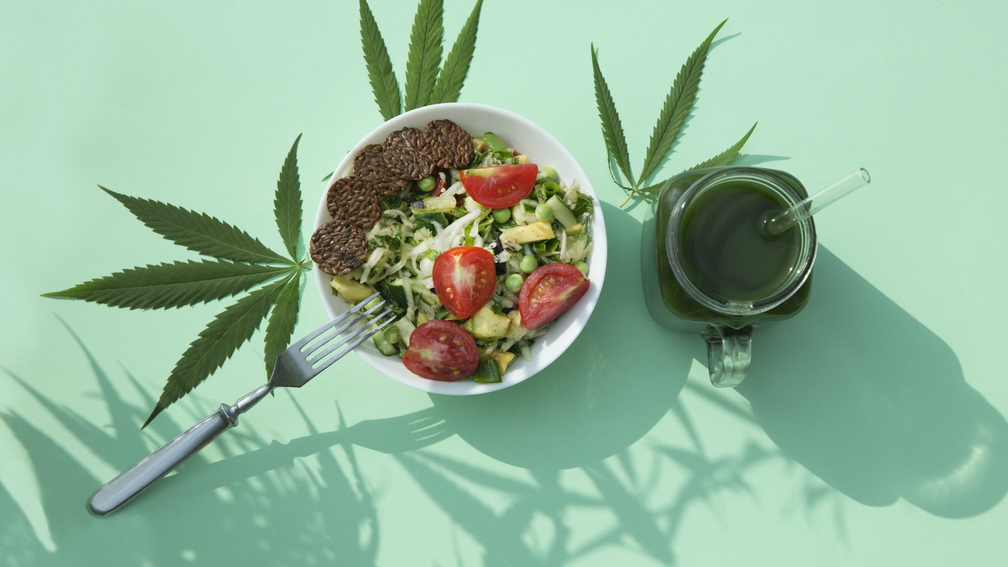 """What Does It Mean to Be """"California Sober""""? Salad, smoothie, and marijuana leaves"""