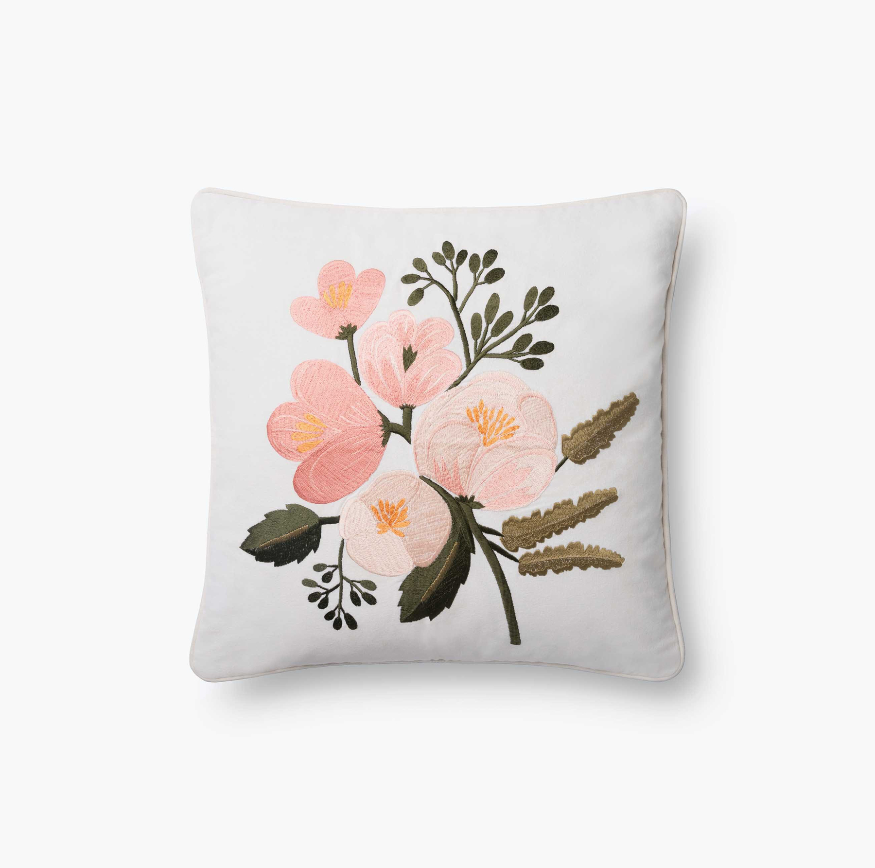 Valentine's Day gifts for her, wife, girlfriend - Rifle Paper Co. Botanical Embroidered Pillow