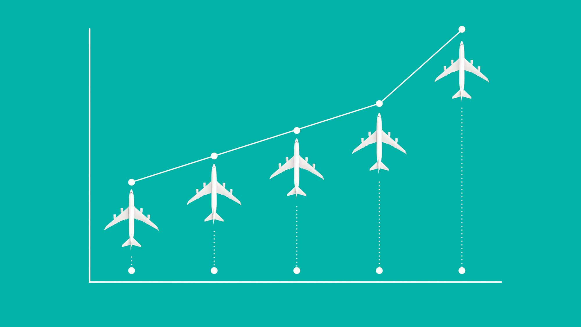 The Best and Worst Airlines in U.S. : bar graph with airplanes