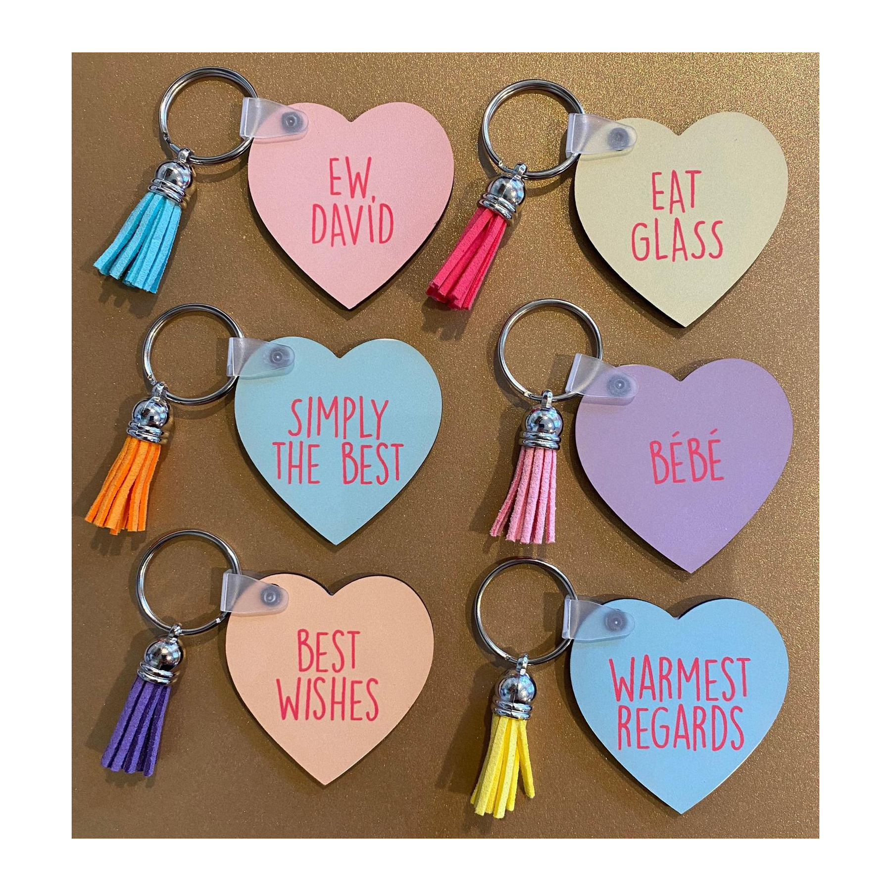 Funny Valentine's Day Gifts 2021: Conversation Heart keychains with funny Schitt's Creek quotes