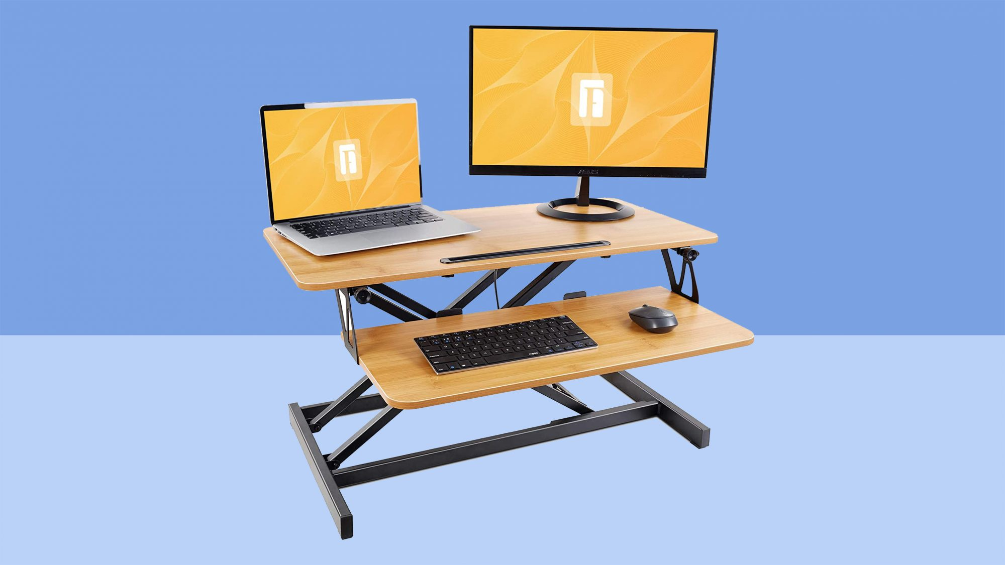 Tabletop Sit Stand Desk Fits Dual Monitors