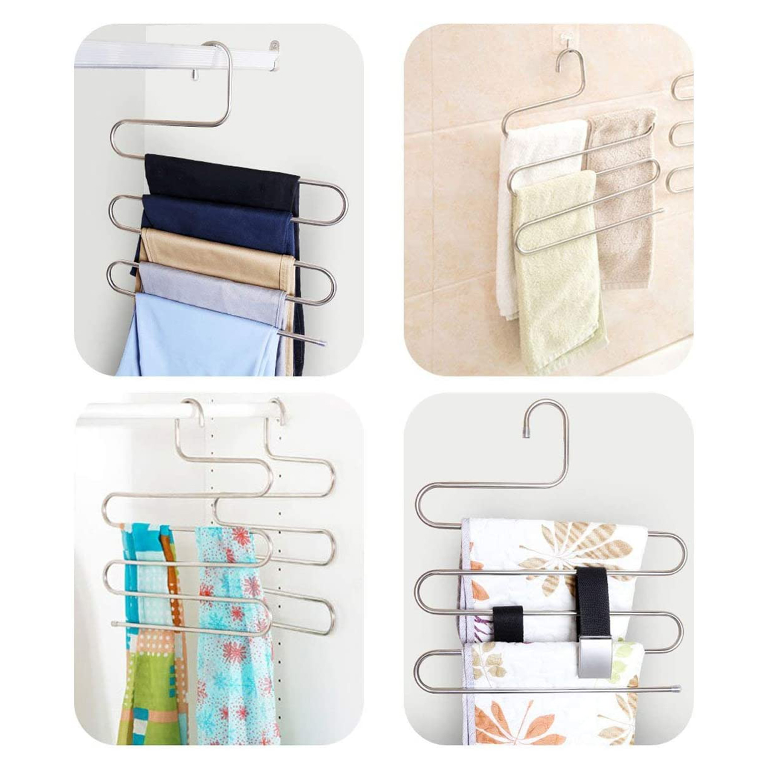 DOIOWN S-Type Stainless Steel Clothes Pants Hangers Closet