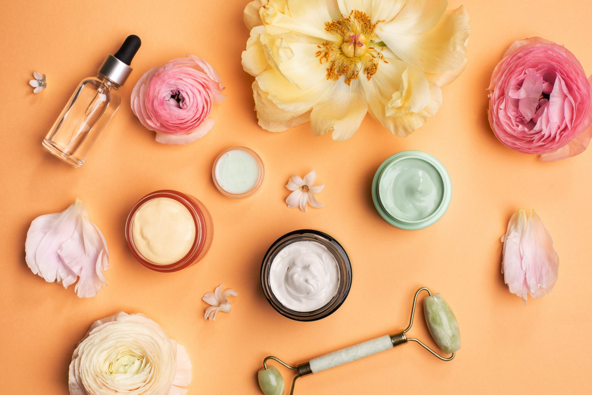 spring-skincare-routine: cosmetics and beauty products
