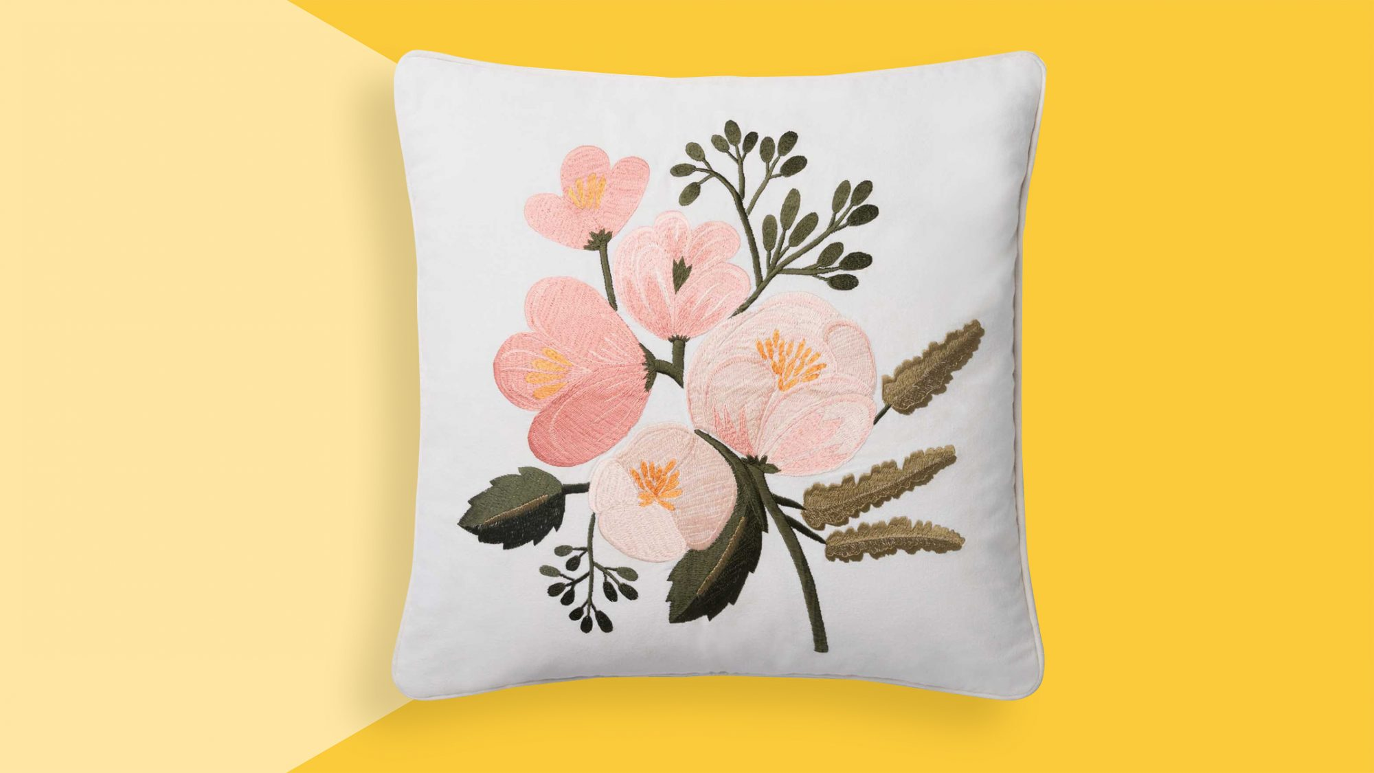 Valentine's Day gifts for her, wife, girlfriend - Rifle Paper Co. pillow on yellow background tout