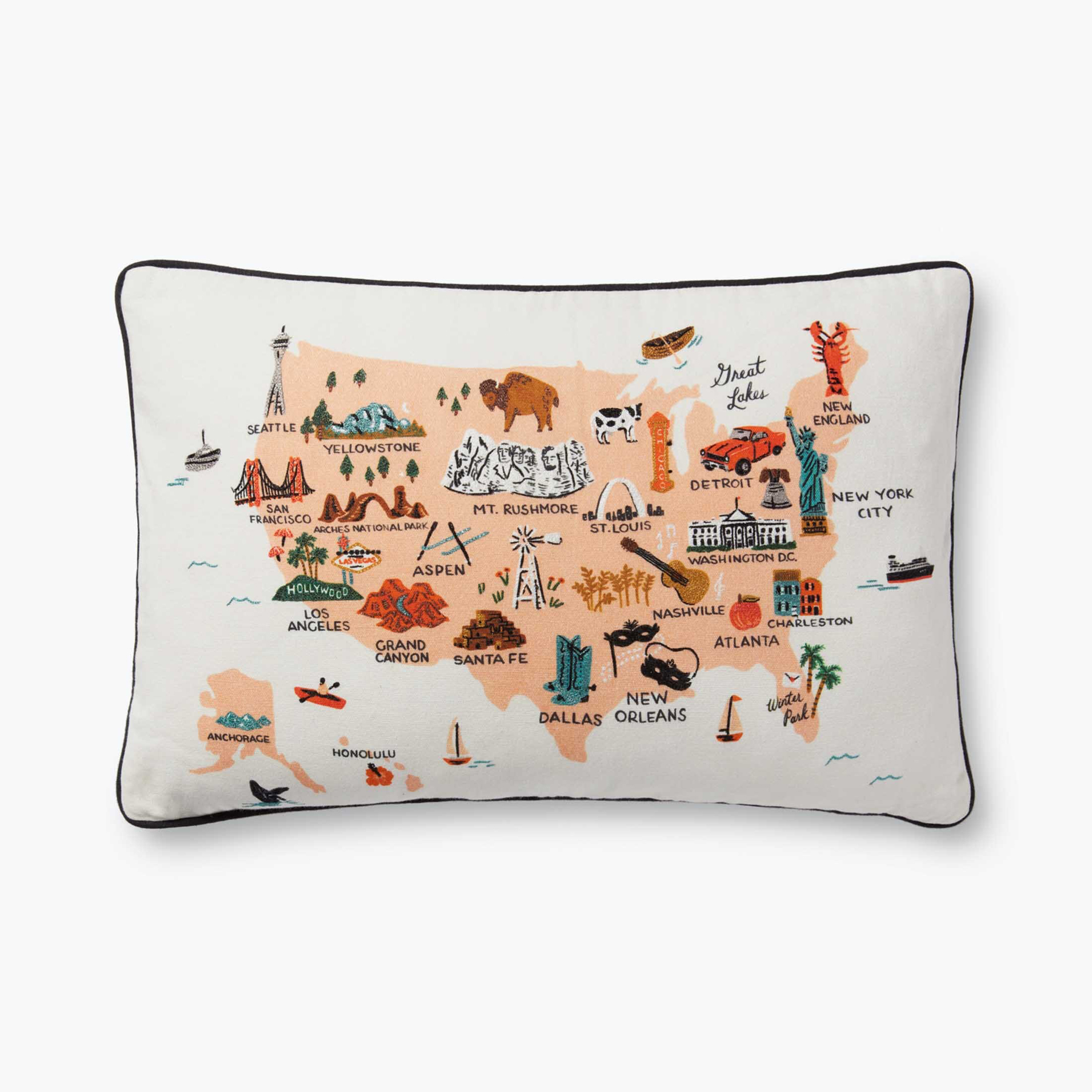 Best housewarming gifts, ideas - Rifle Paper Co. United States of America Embroidered Pillow