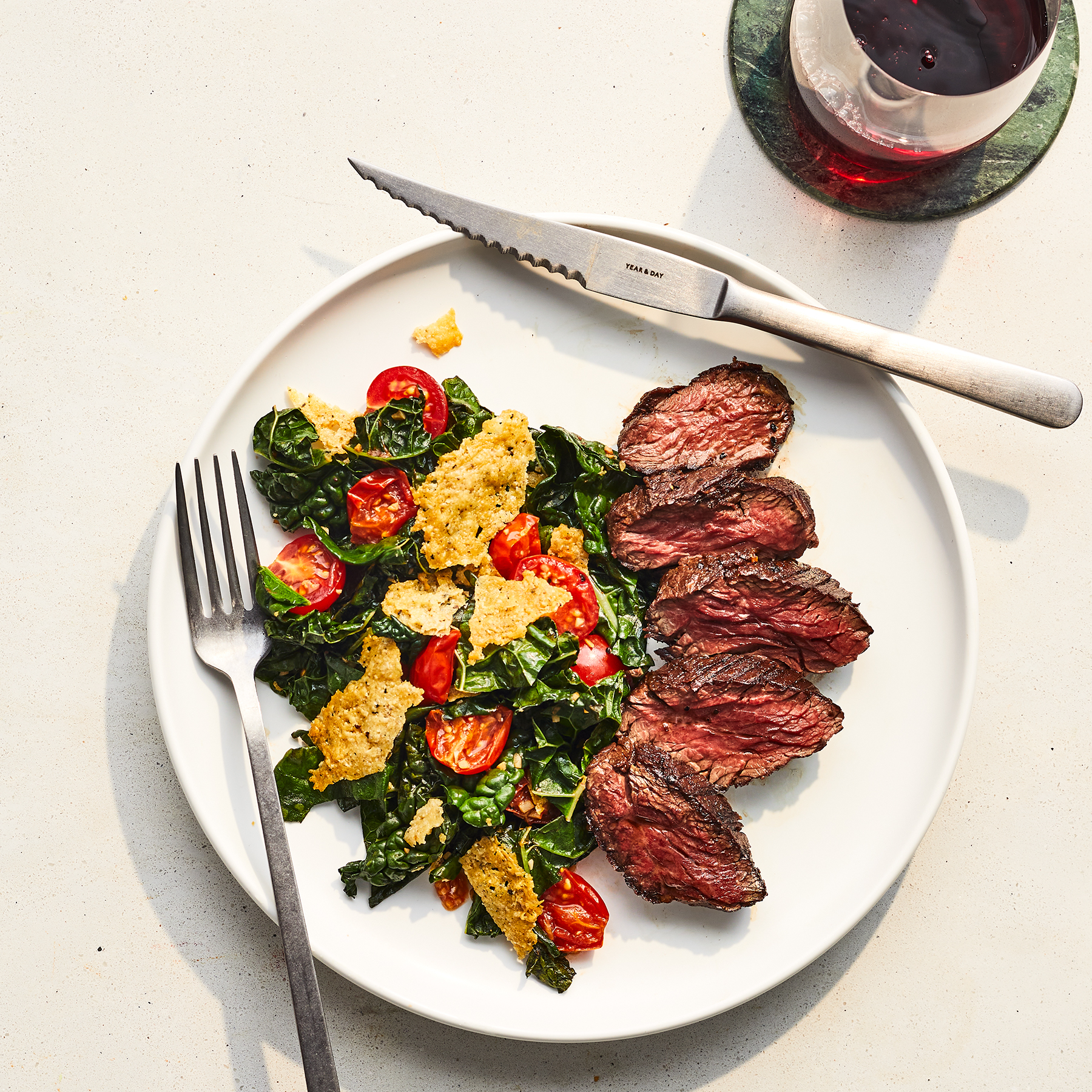 Hanger Steak With Warm Kale and Crispy Cheese Salad