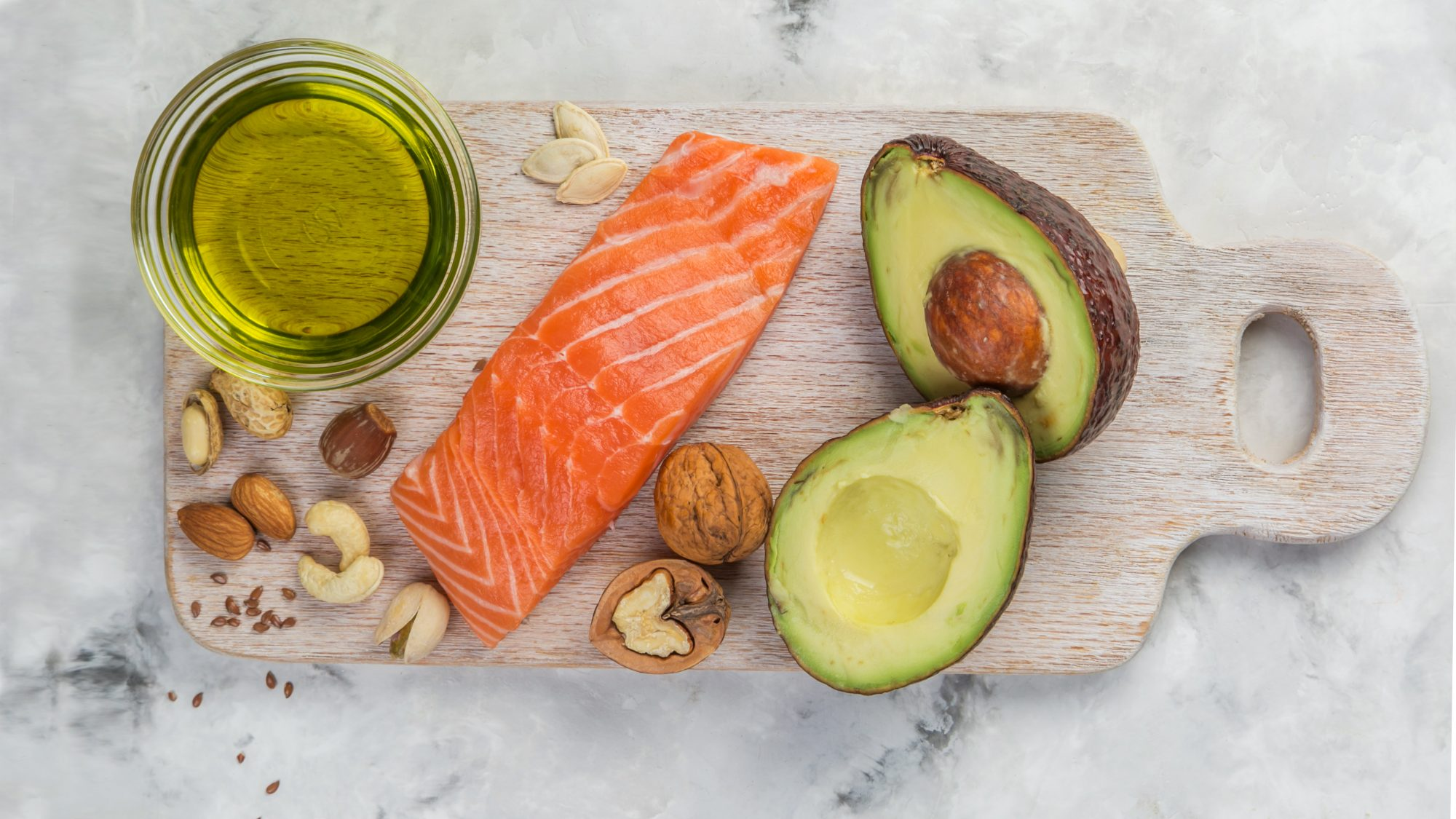 types-of-dietary-fatL olive oil, salmon, avocado