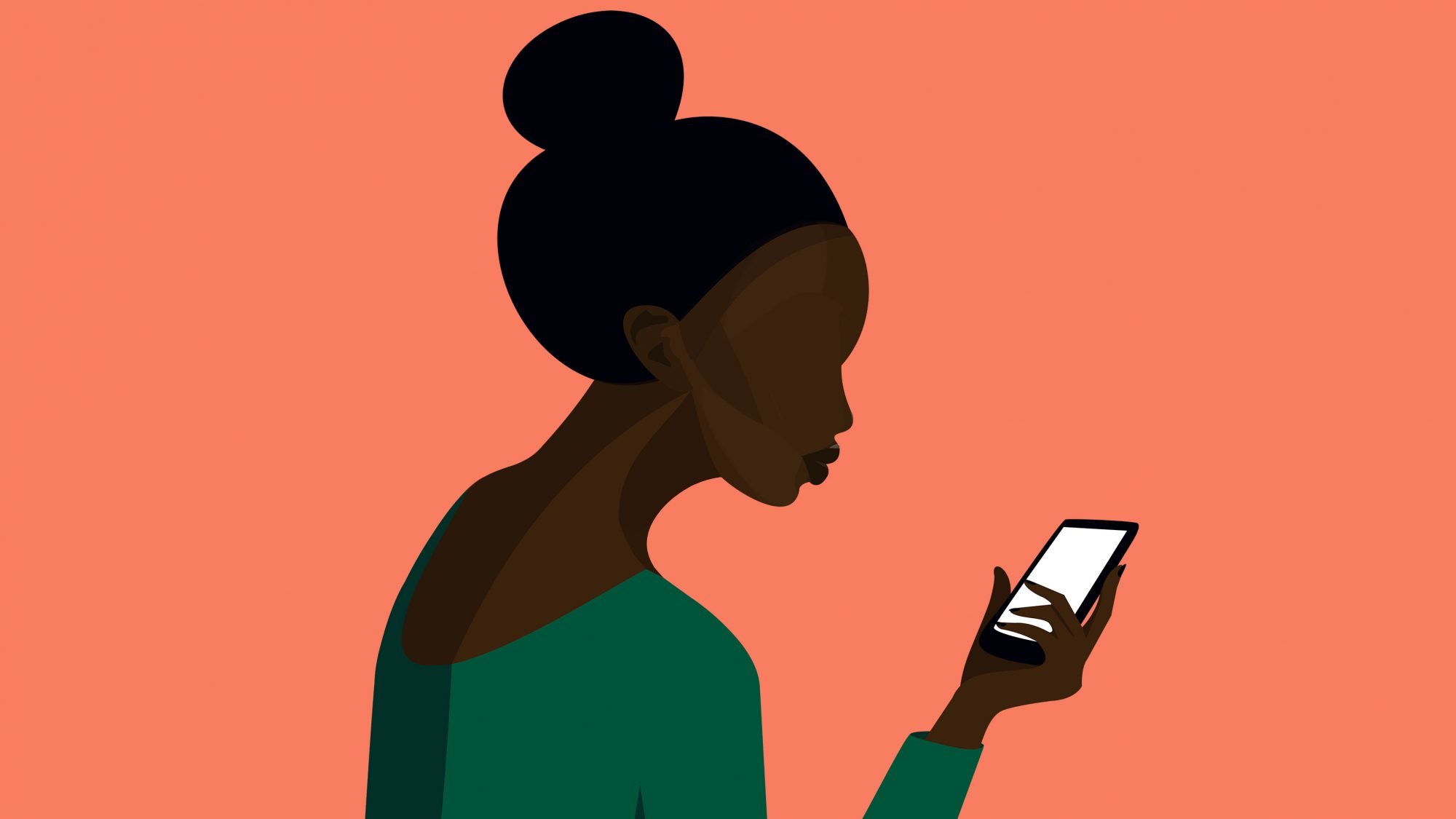 tech-neck: illustration of woman looking down at her phone