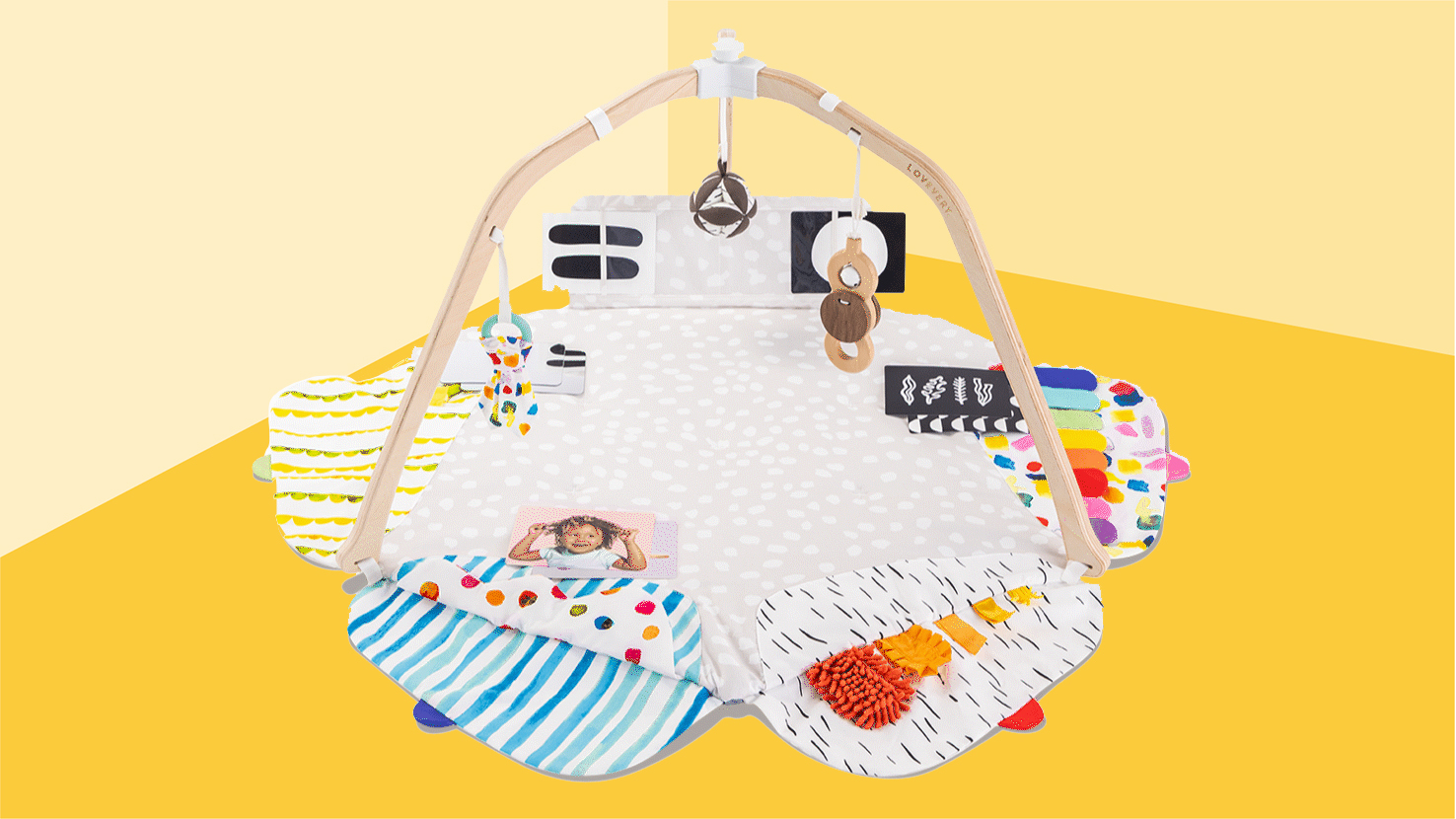 Best newborn baby gifts - play gym on yellow background tout