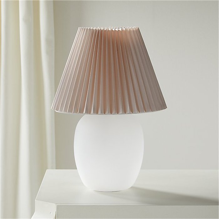Home Decor to Splurge on, Pleated Lampshade with pink shade