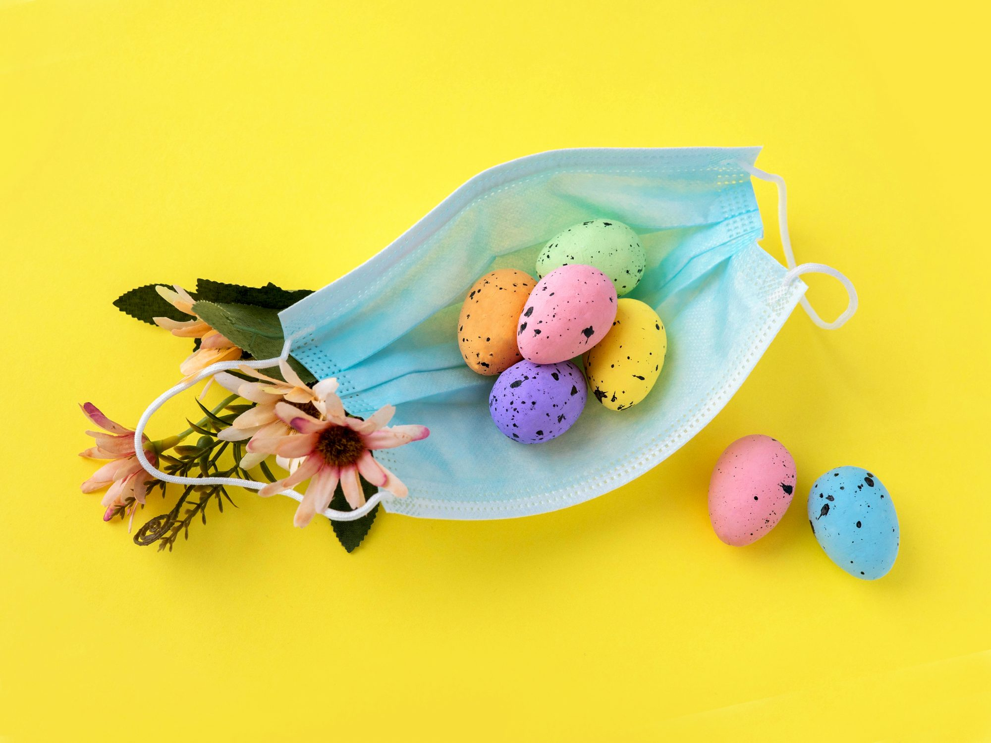 Easter ideas during coronavirus pandemic - mask and eggs