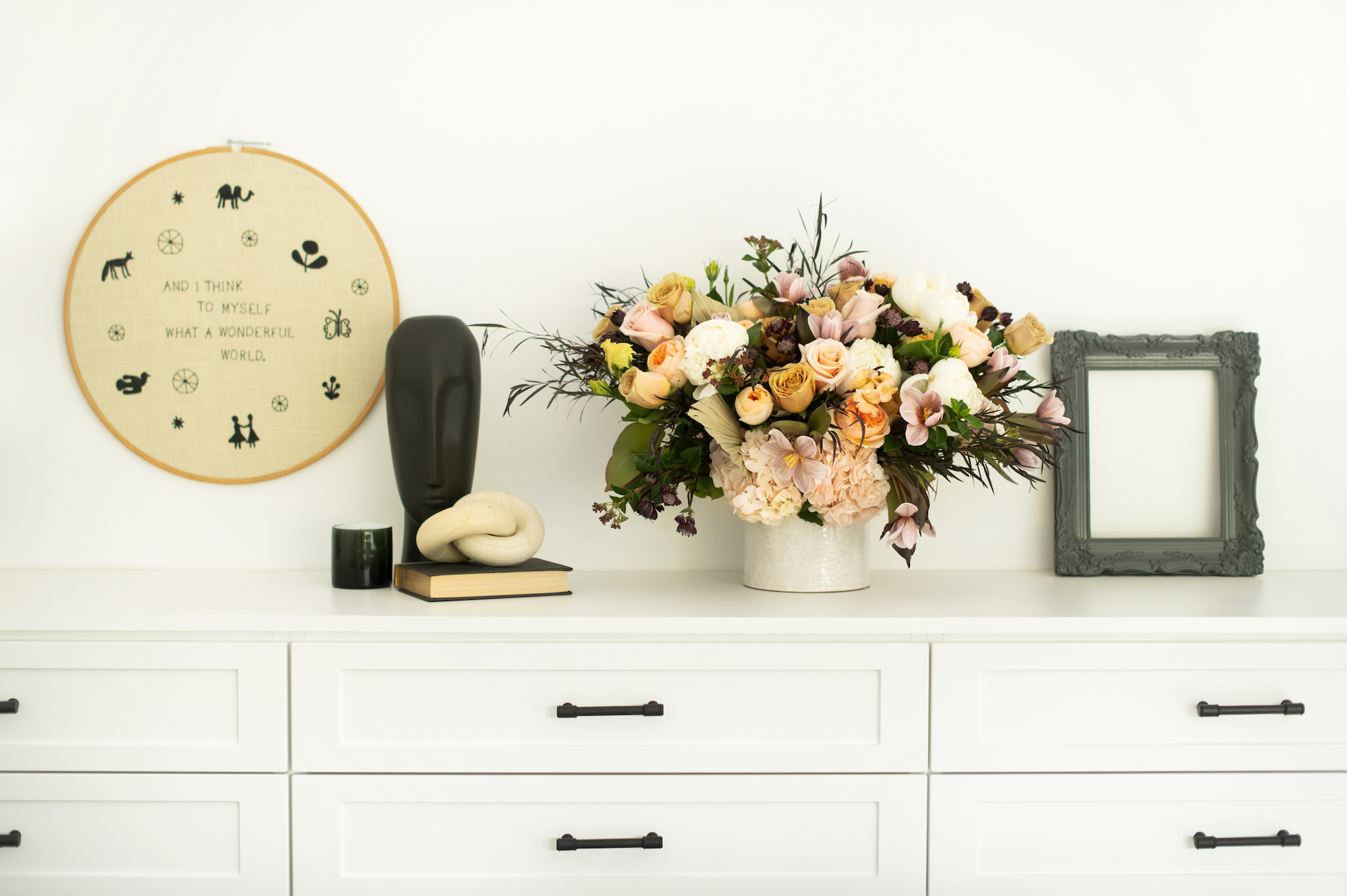 Space of Week, Guest Dresser with vase and knick-knacks