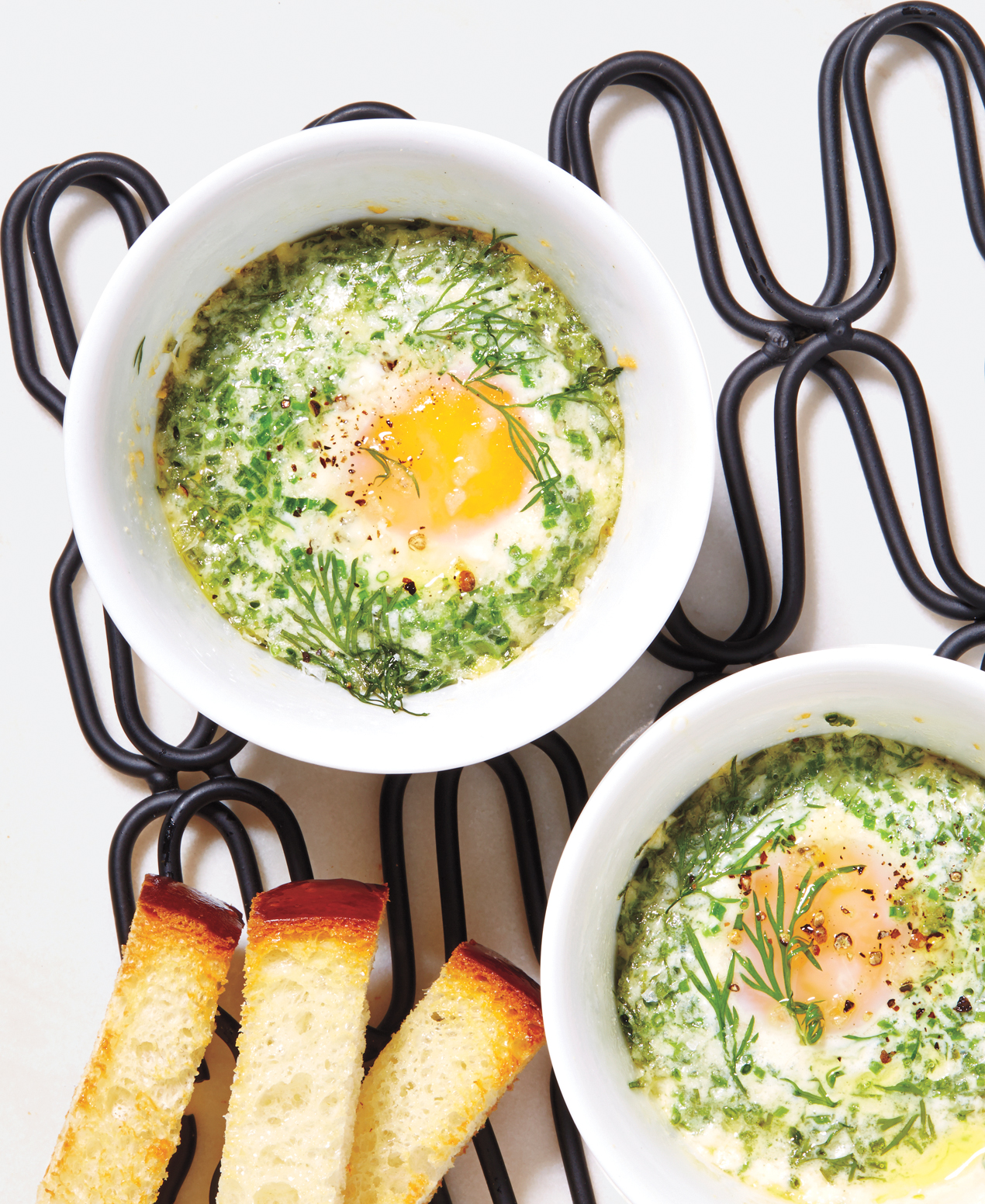 Breakfast ideas with eggs - Baked Eggs With Parmesan and Herbs