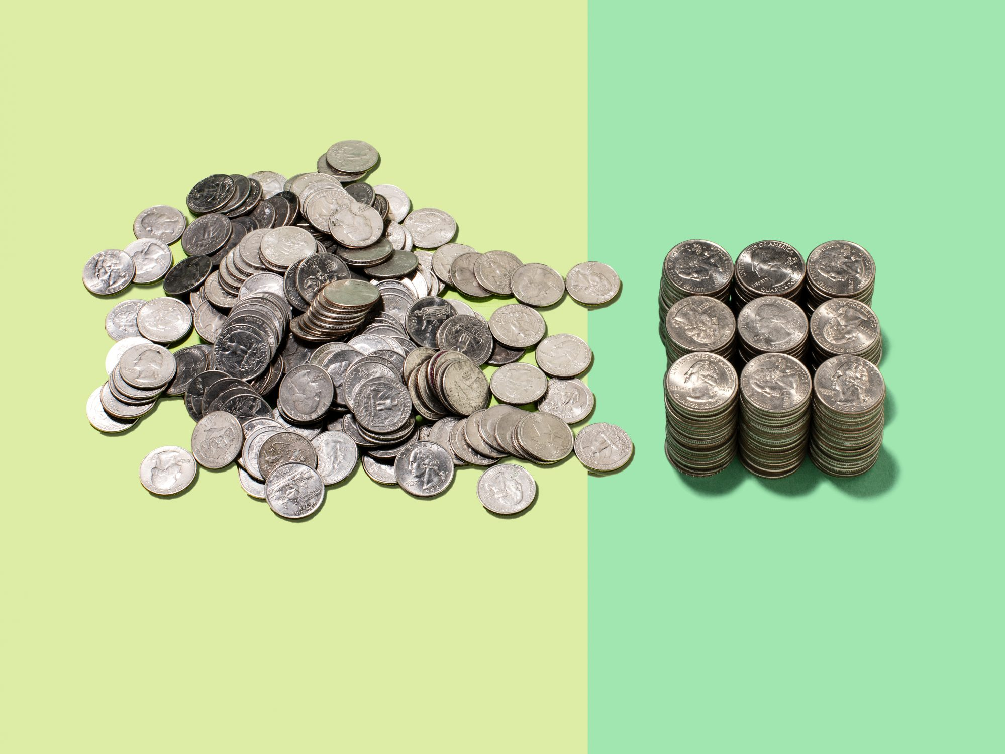 hire-an-accountant: piles of quarters
