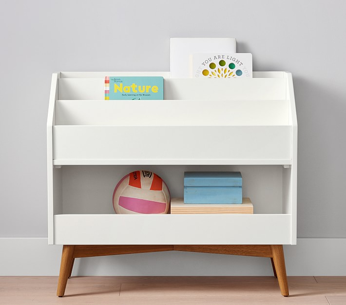 Kids Toy Storage and book storage in white and wood