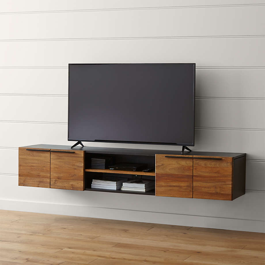 Floating Media Console in teak