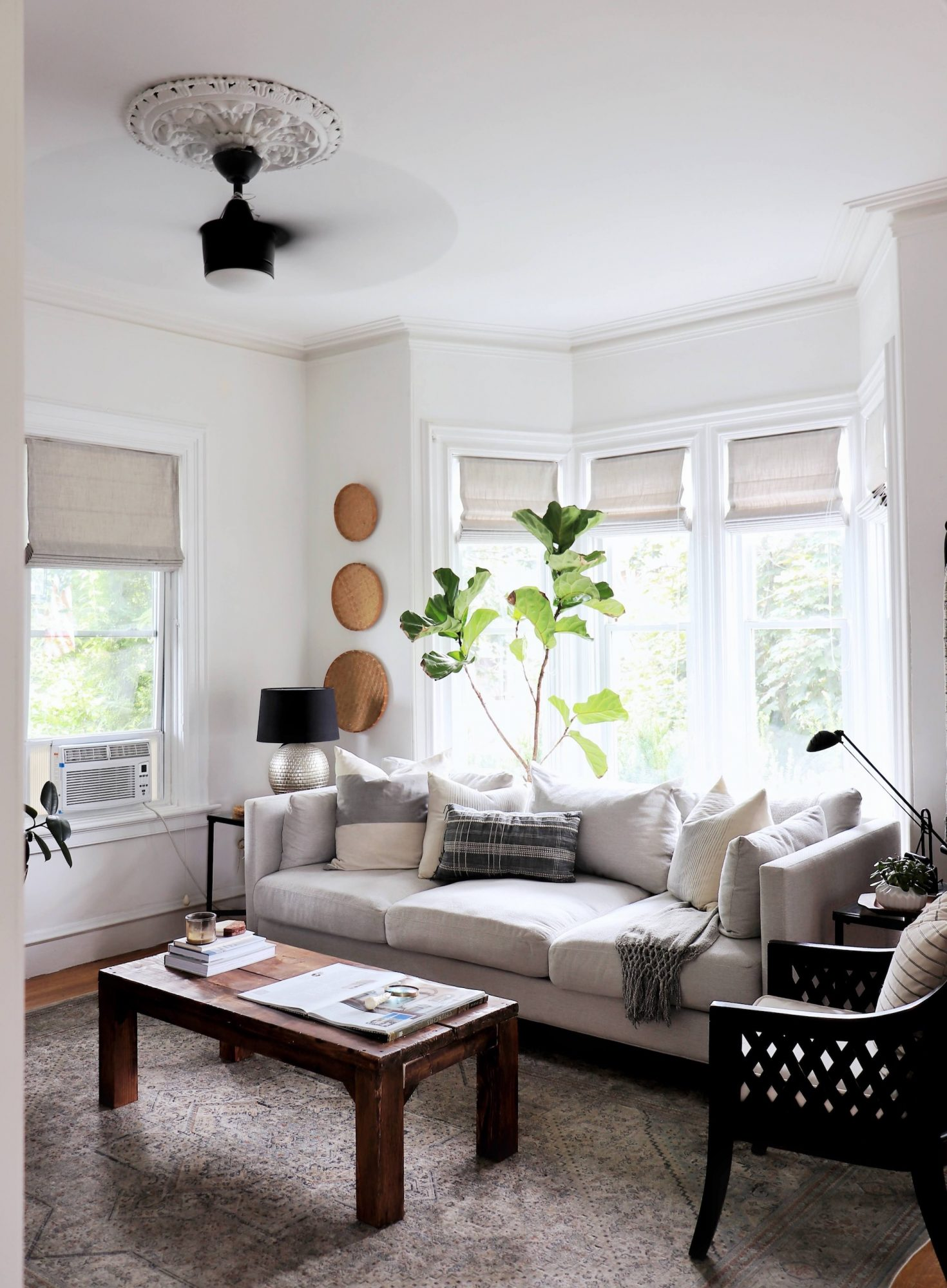 Living Room Decorating Ideas, Architecture, neutral room with ceiling medallion