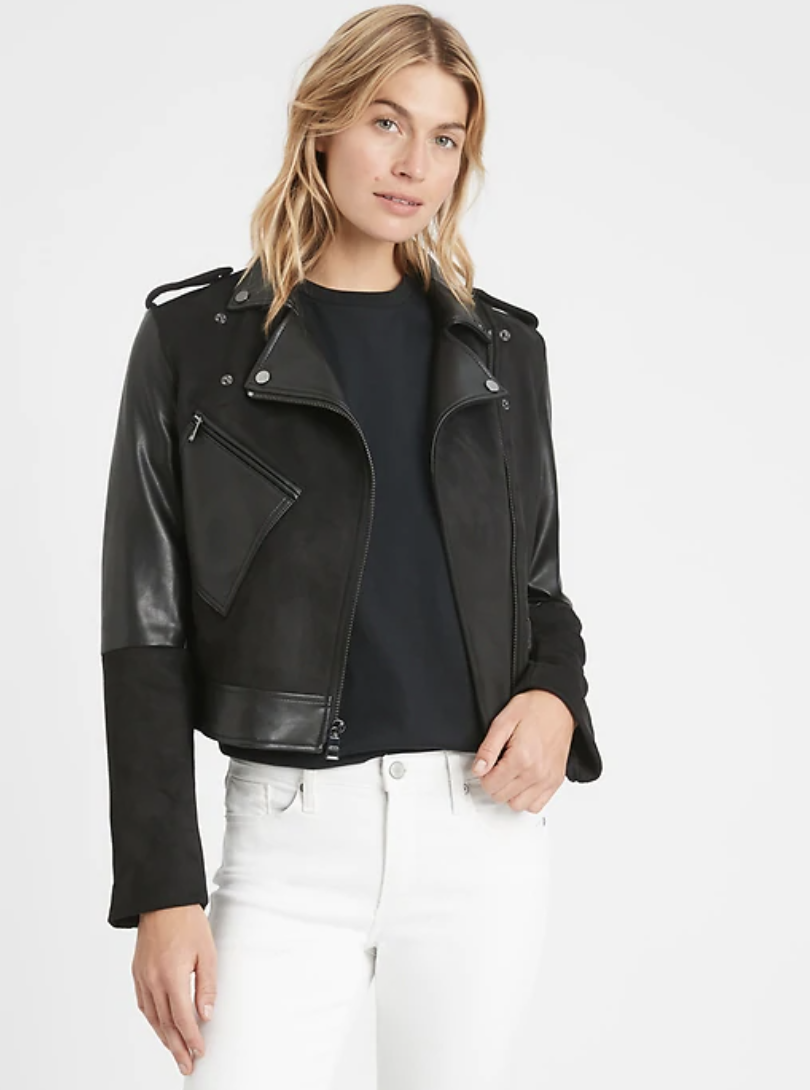 best-moto-jacket- Banana Republic Vegan Suede Patchwork Moto Jacket