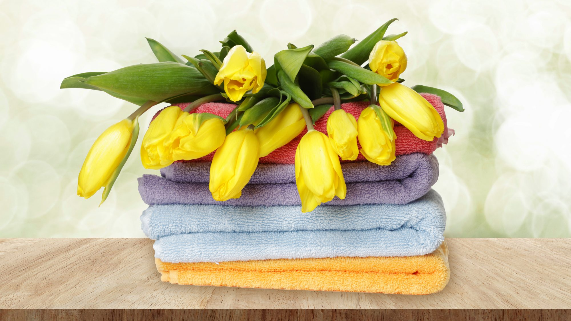The Best Things to Spring Clean Early, tulips on clean towels