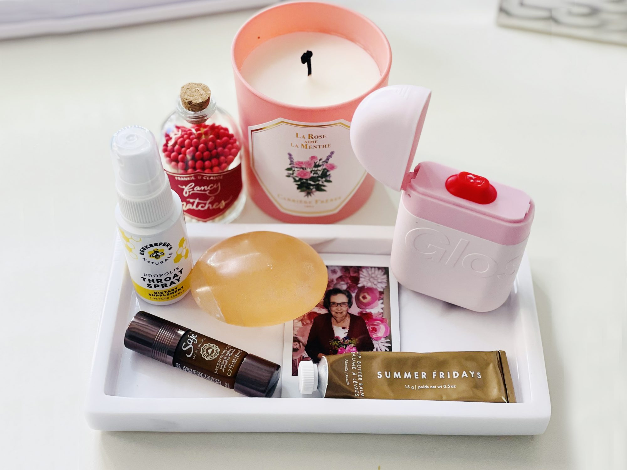 Real Simple beauty director's wfh-desk-essentials on a tray