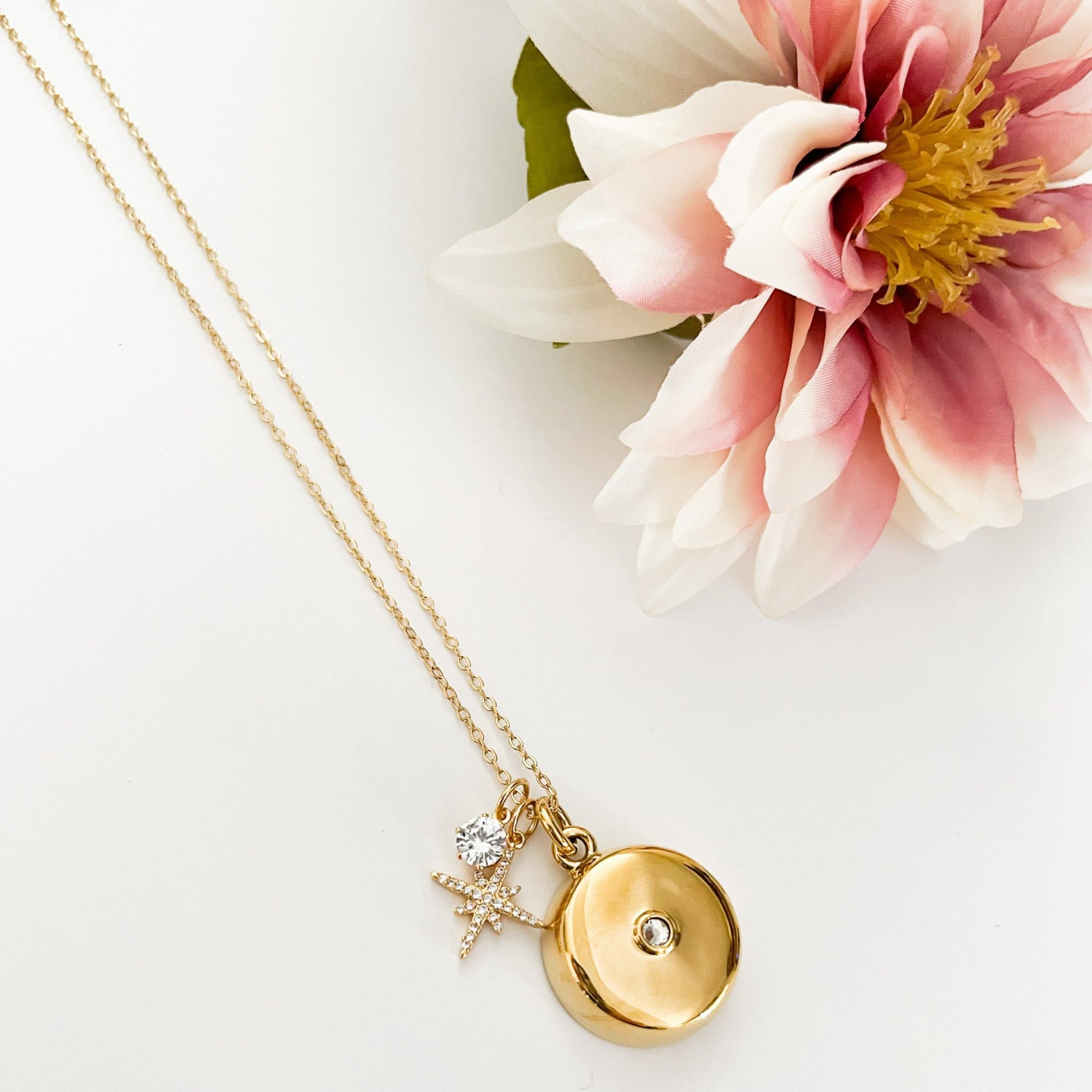 Invisiawear Gold Star Burst Charm Necklace with Crystal Pendant