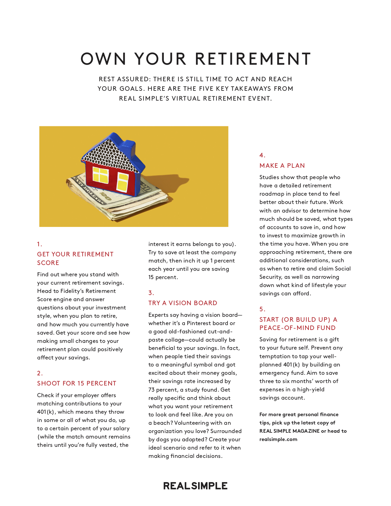 Real Simple Own Your Retirement worksheet