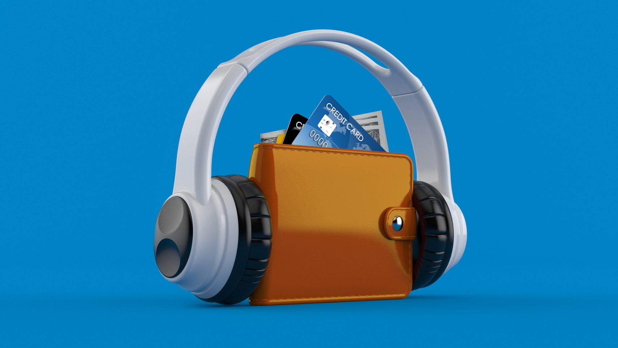 best-finance-podcasts: wallet with headphones