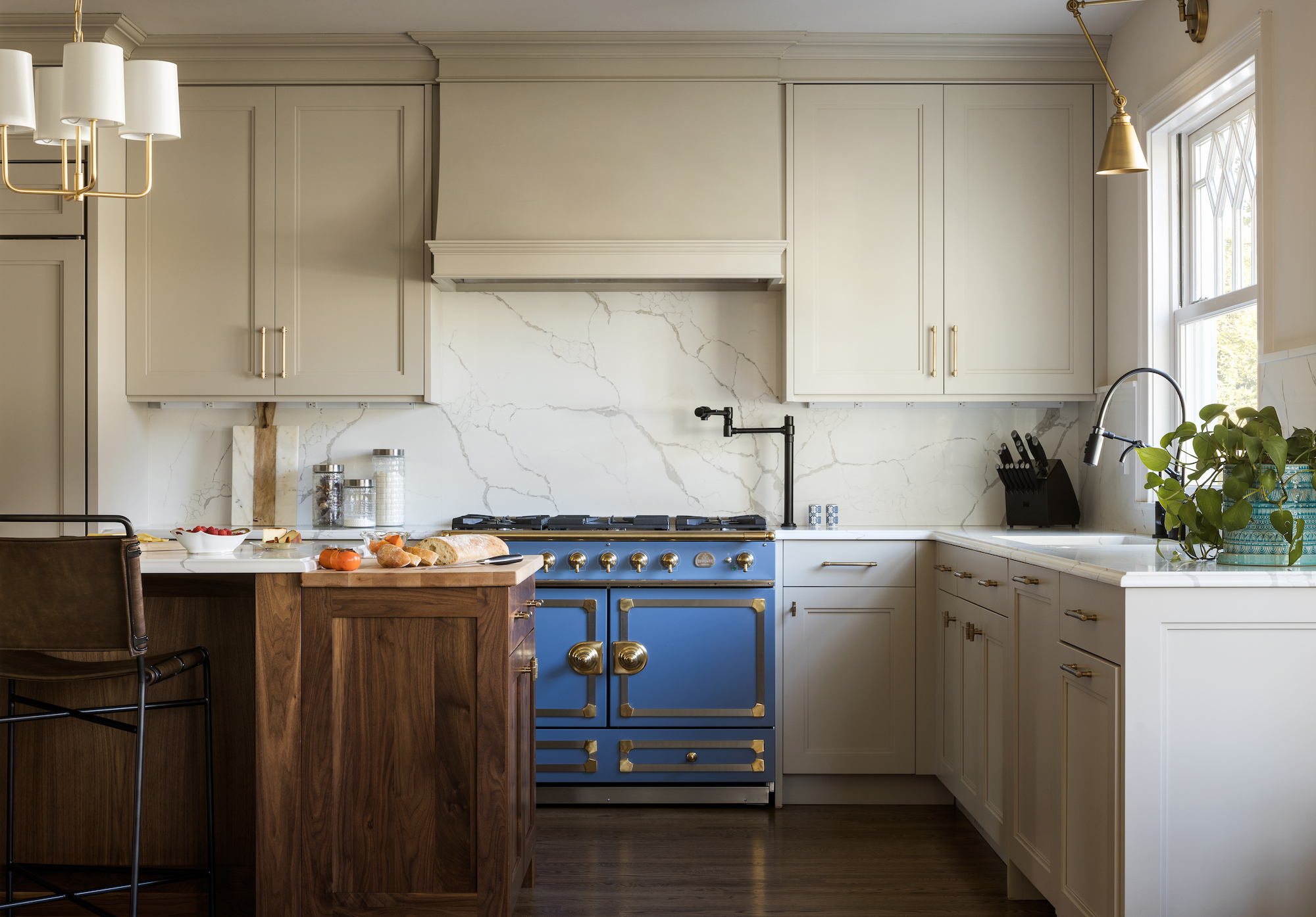 Inset Transitional Shaker Style Cabinet Doors, beige in kitchen