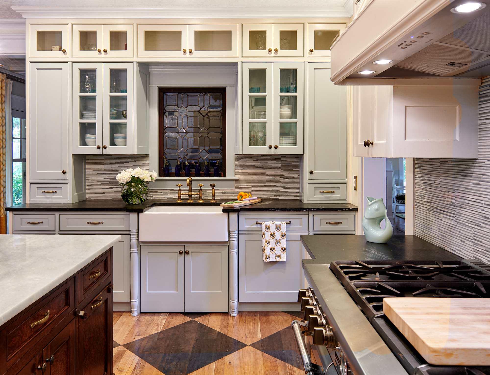 Glass Front Cabinet Doors in Kitchen, cream color cabinets with glass fronts
