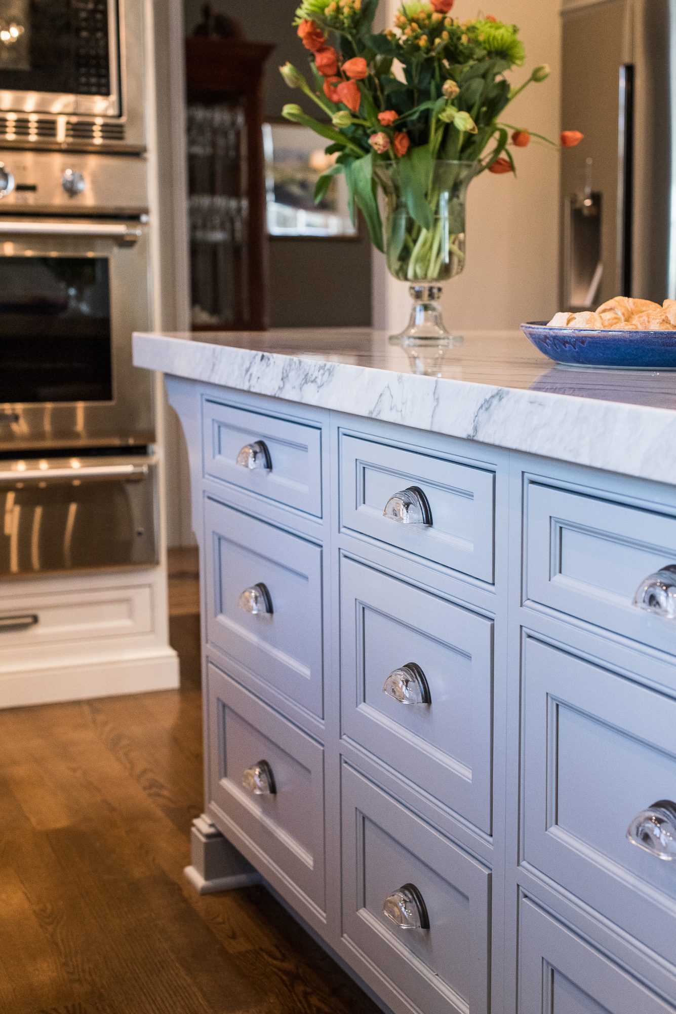 Inset Traditional Kitchen Cabinet Style, light blue cabinet