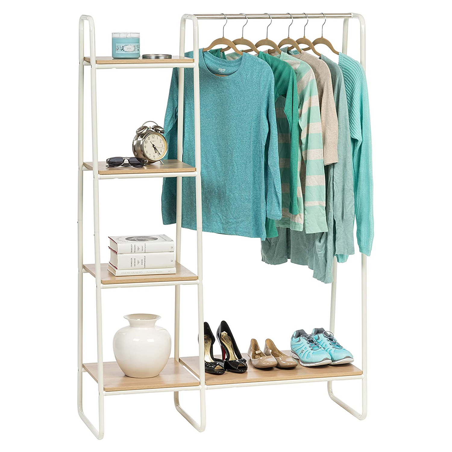 IRIS USA PI-B3 Metal Garment Rack with Shelves