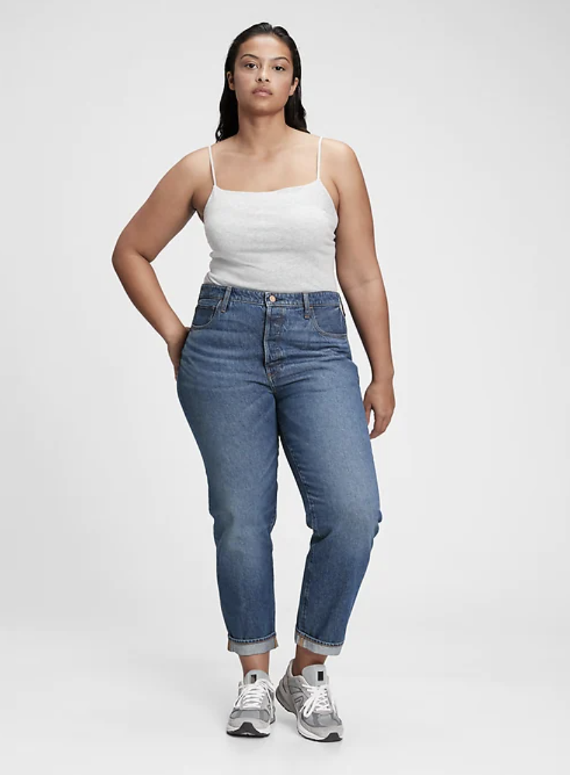 straight-leg-jeans-Gap & Jean ReDesign Mid Rise Relaxed Unisex Straight Fit Jean