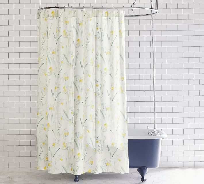 Rebecca Atwood Pottery Barn Shower Curtain with daffodils