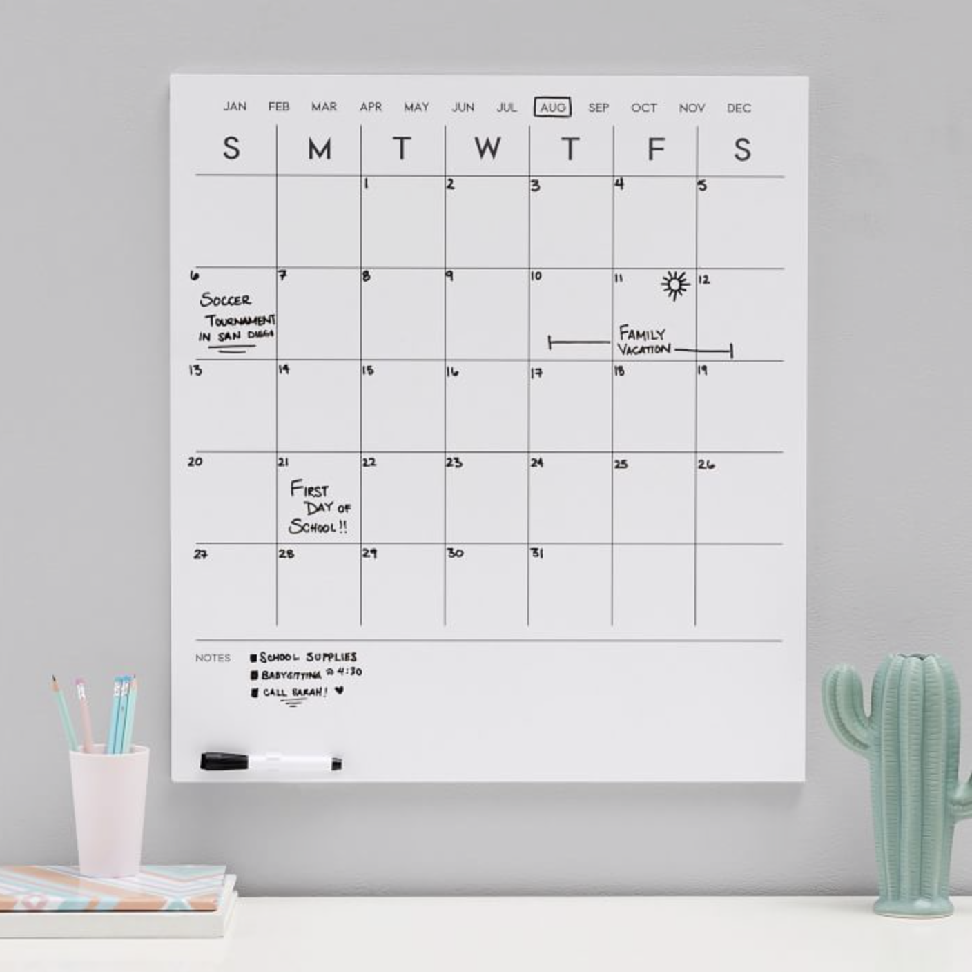 No Nails Dry Erase Calendar