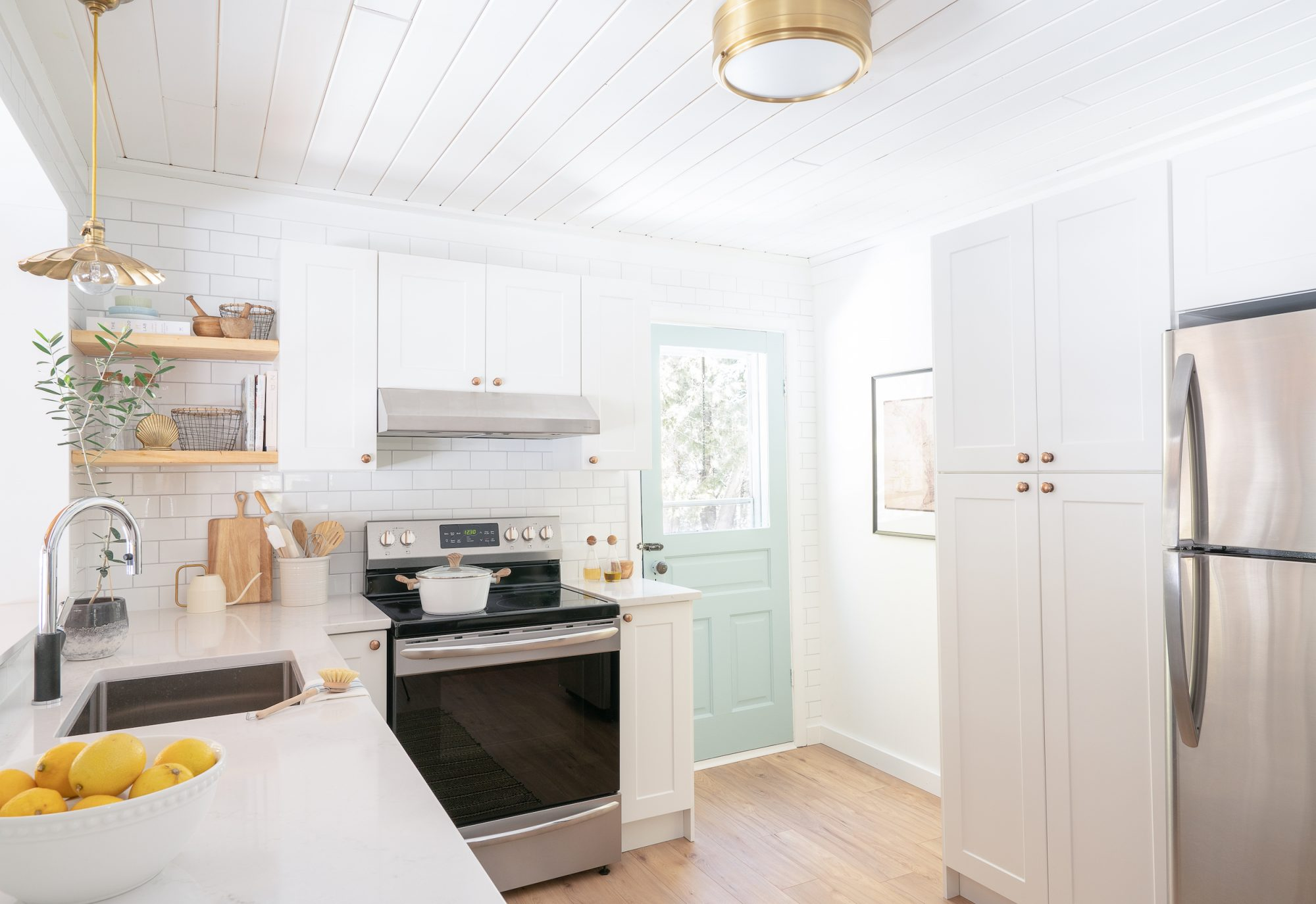 Beach House Kitchen After, white cabinets