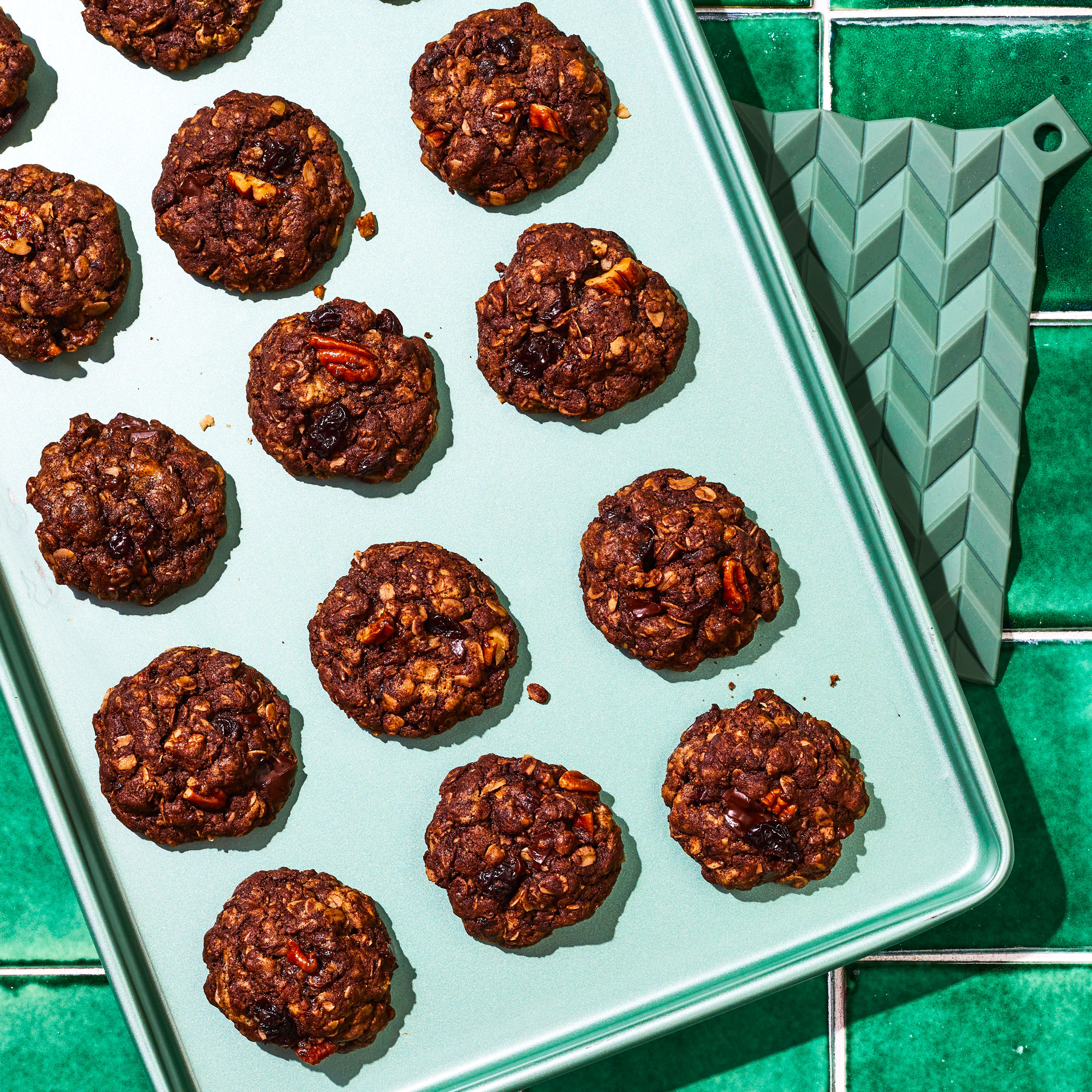 Double-Chocolate Oatmeal Cookies with Cherries and Pecans
