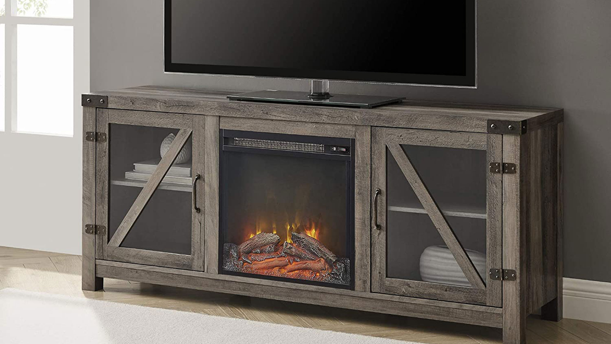 Walker Edison Farmhouse Barn Wood and Glass Fireplace Stand for TV