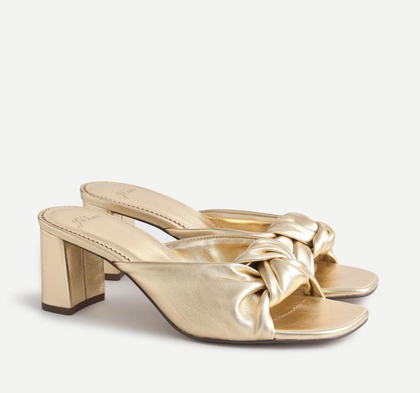 shoes-to-wear-with-flare-jeans-J.Crew Knotted Block-Heel Sandals in Metallic Leather