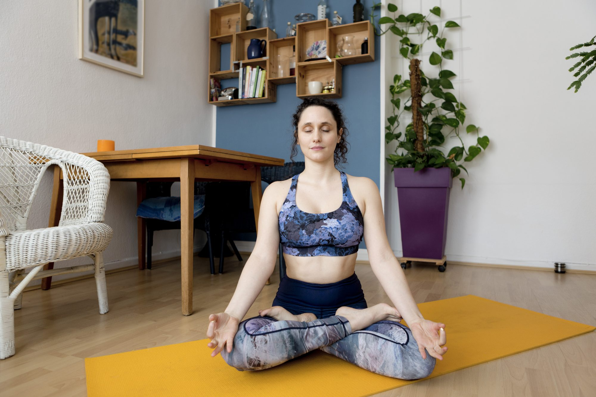 How to Create a Meditation Space at Home: woman meditating