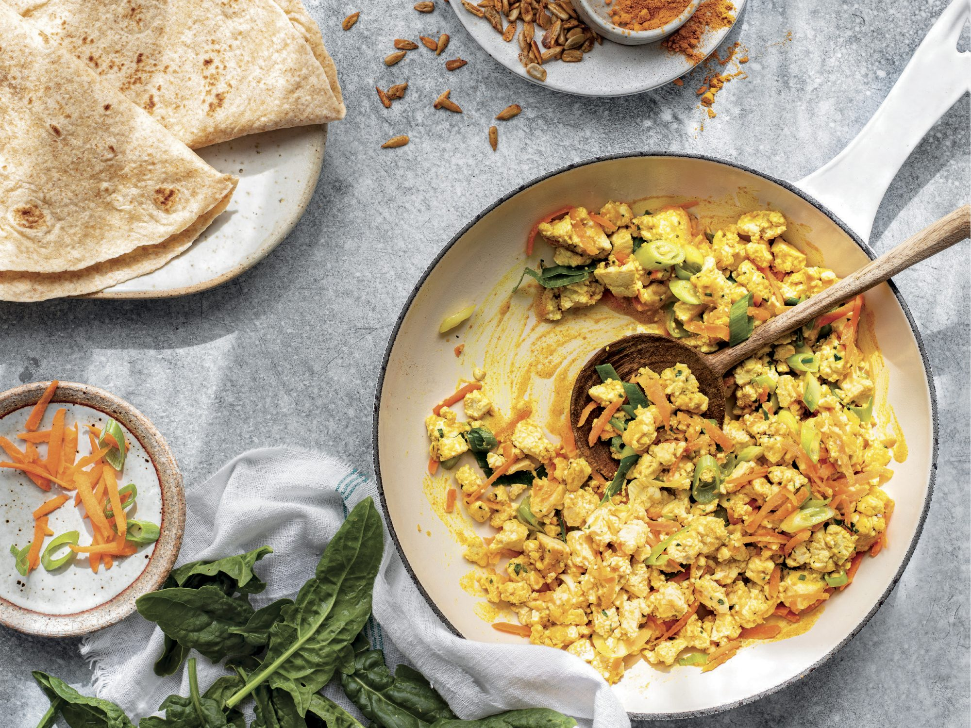 Jane Goodall's Tofu Scramble Wraps With Spinach and Spiced Sunflower Seeds